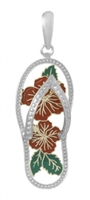 Sterling Silver Red Hibiscus Flower Flip Flop with Enamel Cut-Out
