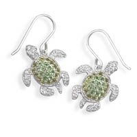 Sea Turtle Earrings Cubic Zirconia Sterling Silver
