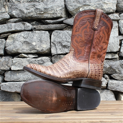 Anderson Bean-Mens-Caiman-Cowboy-Boot-Exotic-Custom-Leather sole-lemon wood peg-Texas-Handmade-Exclusive-Square toe-Roper heel-Mercedes-