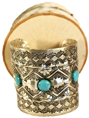 Silver Cuff with Turquoise Stones
