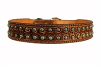 Double J Turquoise Stud Tooled Brown Belt