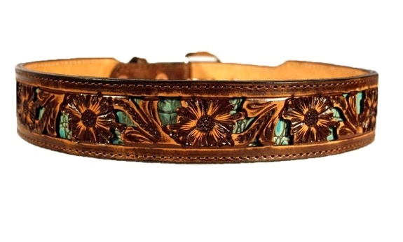 Double J Saddlery Wide Vintage Floral Tooling w/ Turquoise Inlay