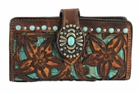 Double J Ladies Hand Tooled Turquoise Antique Leather Wallet
