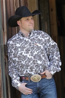 Cinch, Long sleeve, Plain weave print, plain weave, print, black, button up, cinch jeans, cinch shirt, men's, men's shirt, rodeo, team roping, roping, Texas, white, paisley, Denver, USA, cotton, 100% cotton