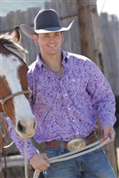 Cinch, Long sleeve, Plain weave print, plain weave, print, purple, button up, cinch jeans, cinch shirt, men's, men's shirt, rodeo, team roping, roping, Texas, paisley, Denver, USA, cotton, 100% cotton