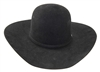 "Rodeo King 5X Open Crown Black Felt w/ Buckle Set 4 1/4"" Brim"