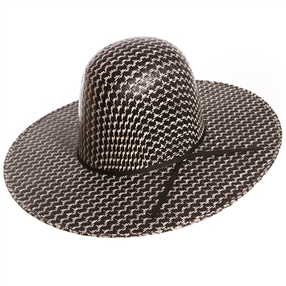 "Rodeo King Black & White Straw 4 1/4"" Brim"