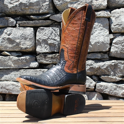 Rod Patrick Black Caiman Belly Square Toe Boots
