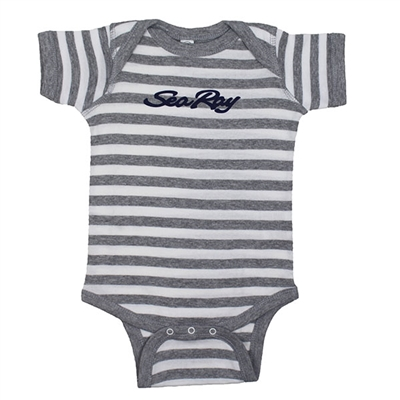 Infant Creeper Bodysuit - Heather Grey / White