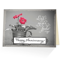 Love never fails. Happy anniversary greeting card based on 1 Corinthians 13:8