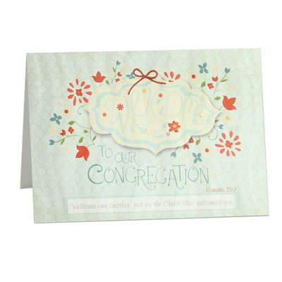 Greeting card based on Romans 15:7 to welcome new brothers and sisters