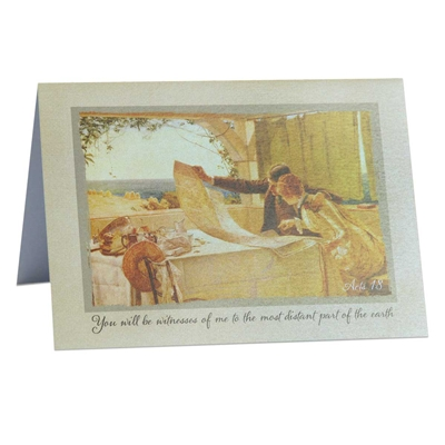 Greeting card for missionary or need-greater: Acts 1:8 'to the most distant part of the earth'