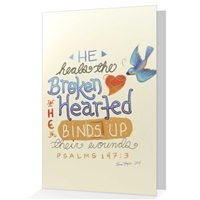 Psalm 147:3 Greeting card: He heals the brokenhearted