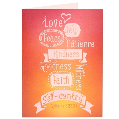Biblical greeting card with a great way to remember the fruitage of the spirit from Galatians 5:22, 23