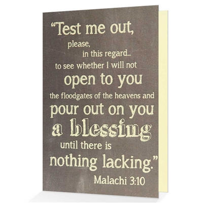 Give an Encouraging Greeting Card based on Malachi 3:10