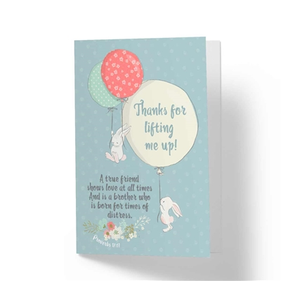 Thanks for Lifting Me Up! - Biblical Greeting Card