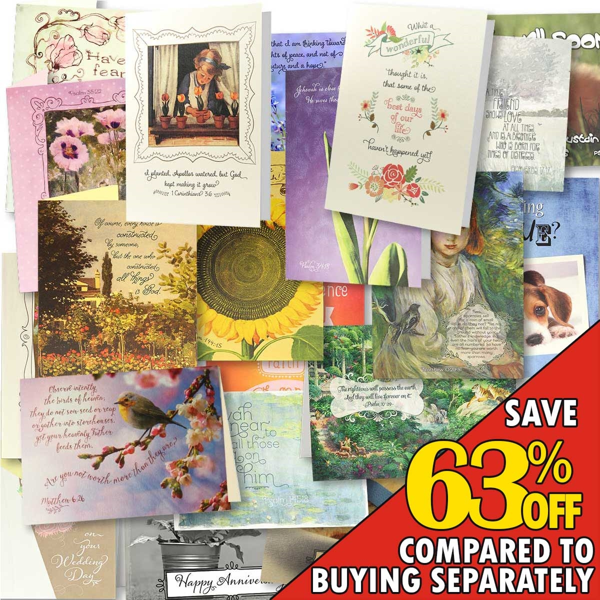 Scriptural jw bible verse greeting card assortment set 30 scripture greeting card set view larger photo email kristyandbryce Image collections