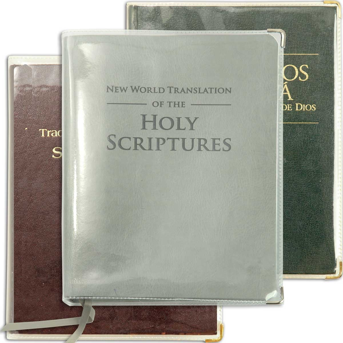for LARGE PRINT Bible - Clear vinyl SLIP-ON COVER for New World Translation  *fits ENGLISH edition