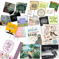 Magnets, bookmarks, and greeting cards to prepare 8 gift bags