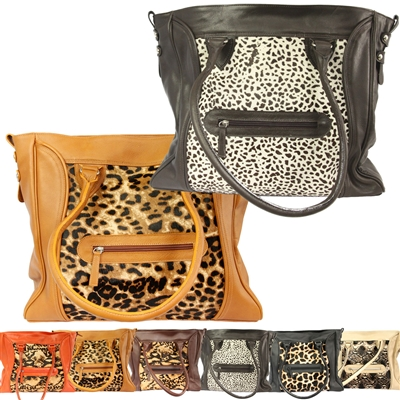 Large Animal Print Genuine Leather Purse & JW Book Bag