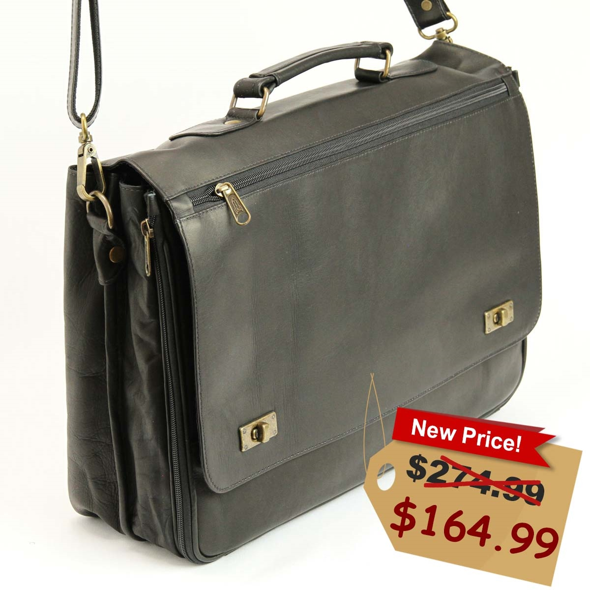 ca5dd7483316 Men s Leather Briefcase in Black