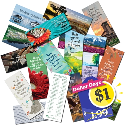 "Bible Reading Schedule bookmark for 2018 Set of 8 Features the 2018 yeartext: ""Those hoping in Jehovah will regain power"" - Isaiah 40:31"