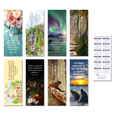 Bible Reading Schedule bookmark for 2021 Set of 8 Features the 2021 yeartext