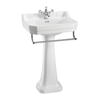 Burlington Edwardian 56cm Basin with Towel Rail & Pedestal