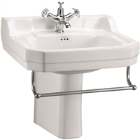 Burlington Edwardian 560mm Basin with Towel Rail & Semi Pedestal