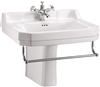 Burlington Edwardian 610mm Basin with Towel Rail & Semi Pedestal