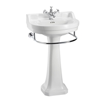 Burlington Edwardian Round 560mm Basin with Towel Rail & Pedestal