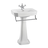 Burlington Victorian 560mm Basin with Towel Rail & Pedestal