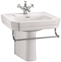 Burlington Victorian 560mm Basin with Towel Rail & Semi Pedestal