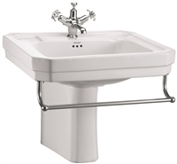 Burlington Victorian 61cm Basin with Towel Rail & Semi Pedestal