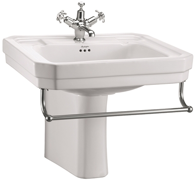Burlington Victorian 610mm Basin with Towel Rail & Semi Pedestal
