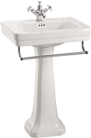 Burlington Contemporary 575mm Basin with Towel Rail & Pedestal