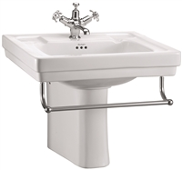 Burlington Contemporary 575mm Basin with Towel Rail & Semi Pedestal