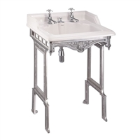 Burlington Classic 65cm Basin with Invisible Waste & Brushed Aluminium Stand