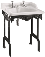 Burlington Classic 650mm Basin with Invisible Overflow & Black Aluminium Stand