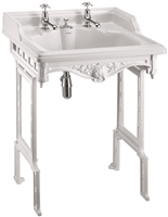 Burlington Classic 650mm Basin with Invisible Overflow & White Aluminium Stand