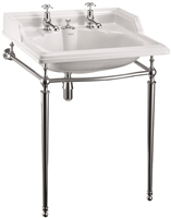 Burlington Classic 65cm Basin with Invisible Waste & Chrome Basin Stand