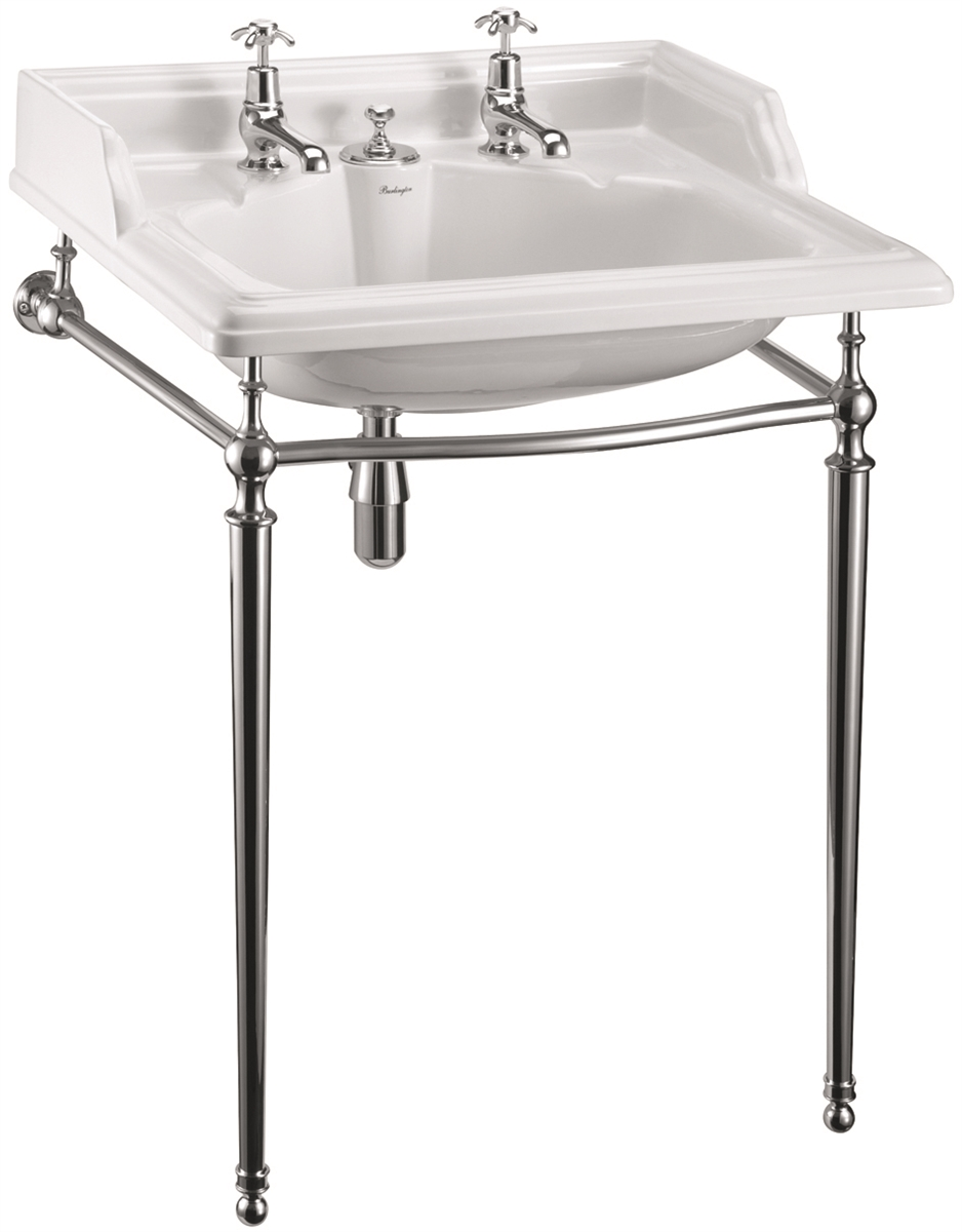 Burlington Classic 650mm Basin With Invisible Waste Chrome Basin Stand