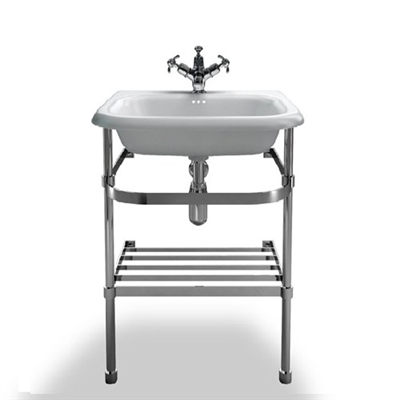Burlington Small Roll Top Basin with Stainless Steel Stand