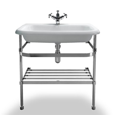 Burlington Large Roll Top Basin with Stainless Steel Stand