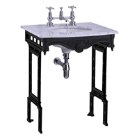 Burlington Carrera Marble Top and Basin with Black Aluminium Washstand