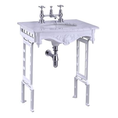 Burlington Carrera Marble Top and Basin with White Aluminium Washstand