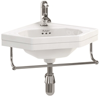 Burlington Corner 60cm Cloakroom Basin with Towel Rail