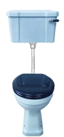 TRTC Blue Art Deco Low Level Toilet