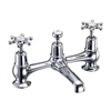 Burlington Birkenhead 2 Tap Hole Bridge Basin Mixer with High Central Indice with Plug and Chain Waste with Swivel Spout