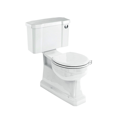 Burlington Concealed Bottom Outlet Close Coupled WC with Slimline Rear or Bottom Entry Flush Button Cistern